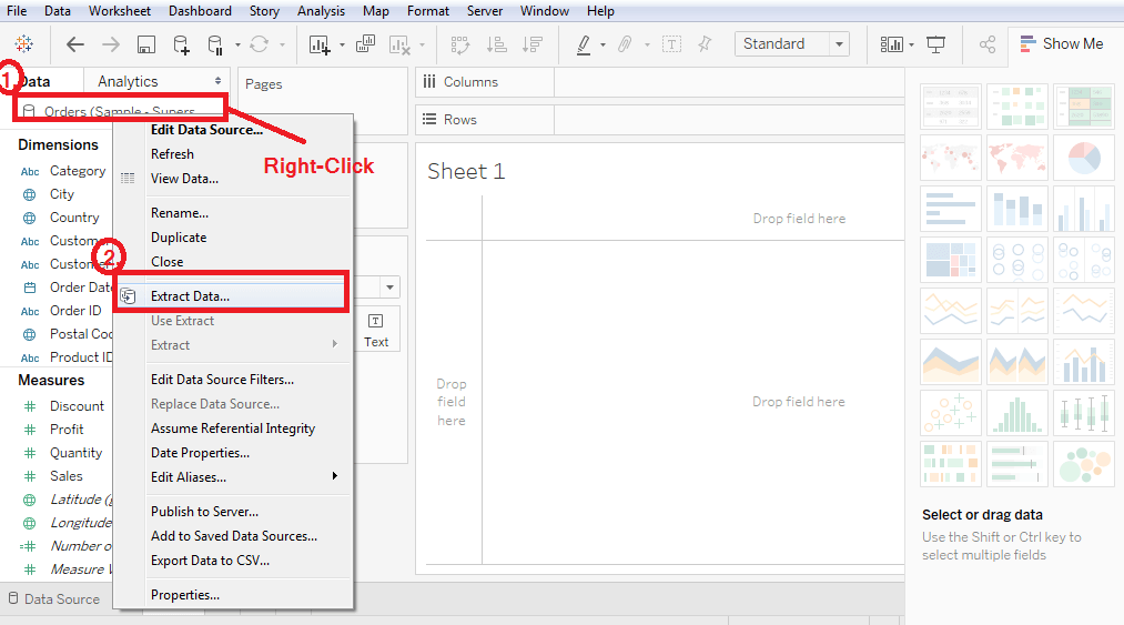 Tableau Extracting Data