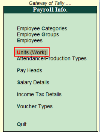 Create compound Payroll Units in Tally