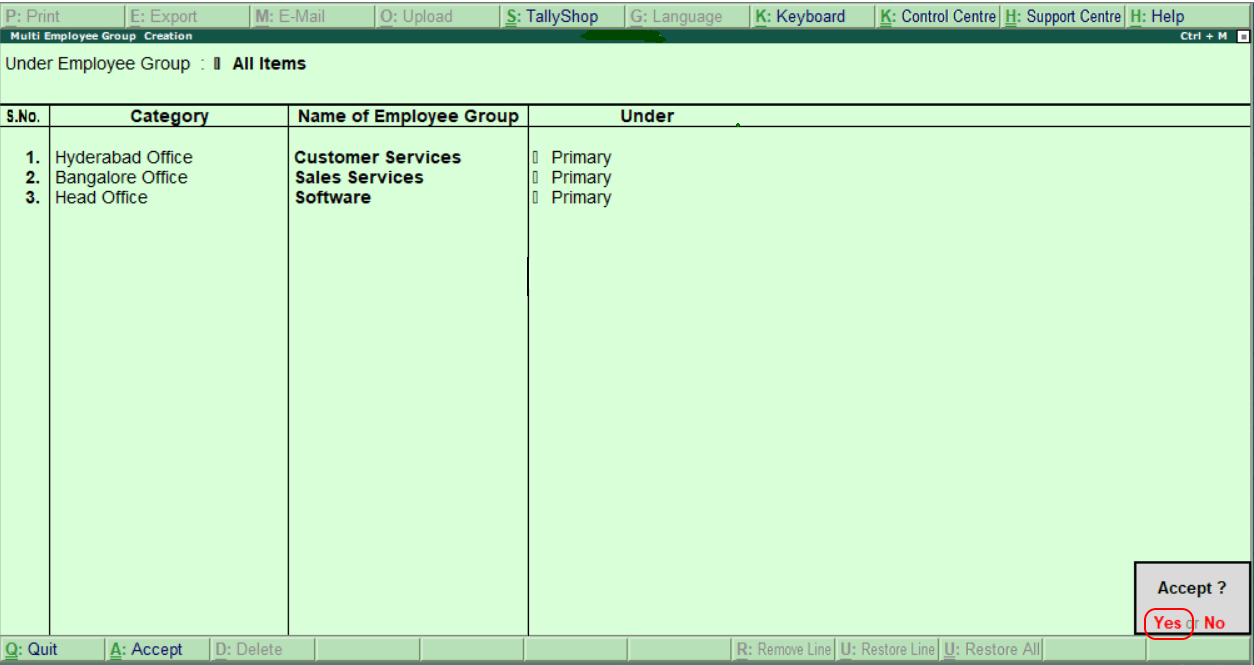 Create Employee Groups in Tally