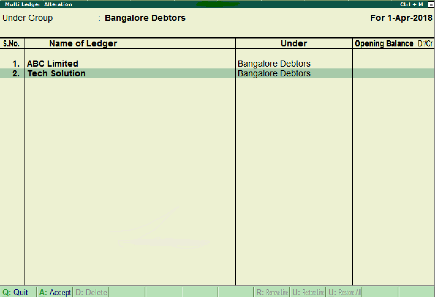 Create Multiple Ledgers in Tally