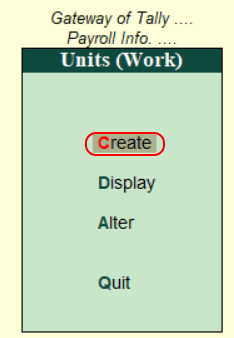 Create Simple Payroll Units in Tally