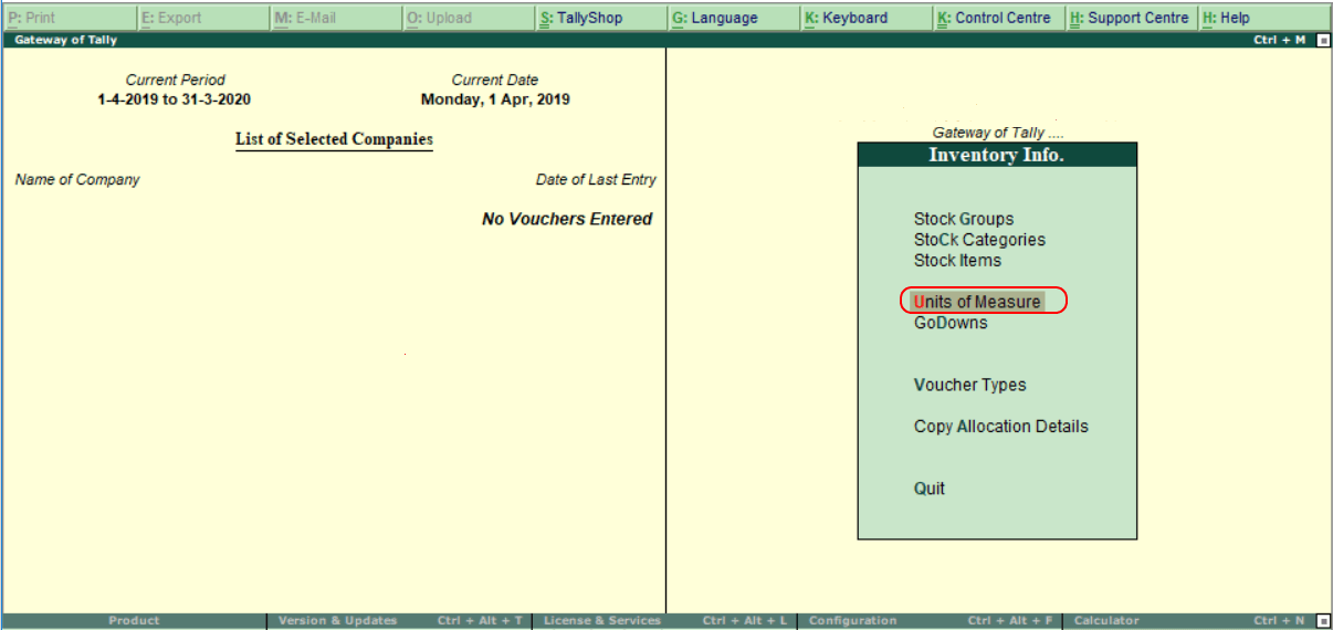 Create Stock Units in Tally ERP 9