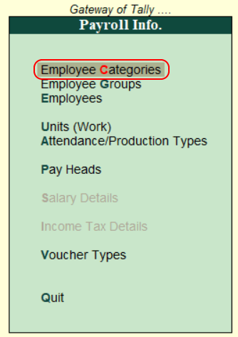 Define Employee Category in Tally