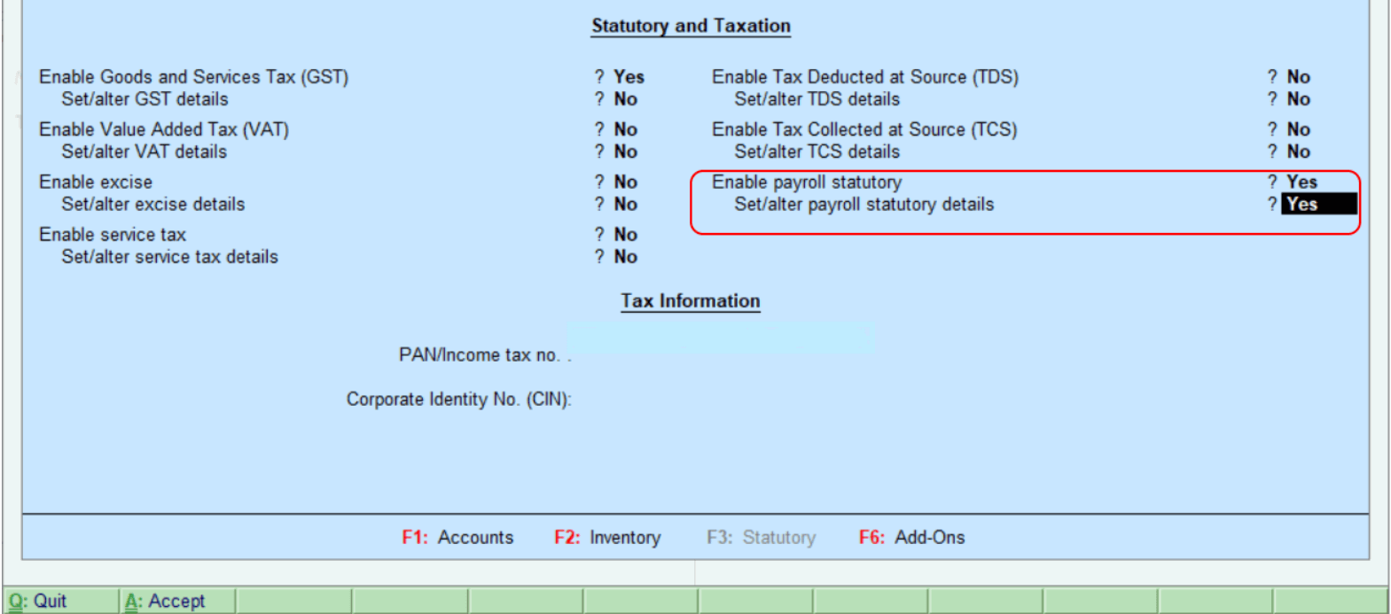 Enable Payroll Statutory Features in Tally