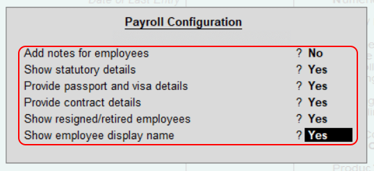 Payroll Configuration in Tally ERP 9