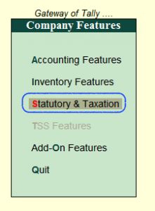 Statutory & Taxation in Tally ERP 9