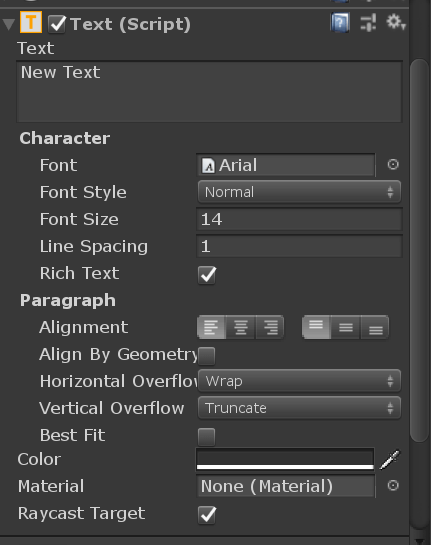 Unity UI Text