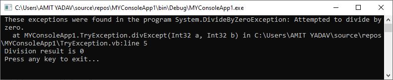 VB.NET Exception Handling