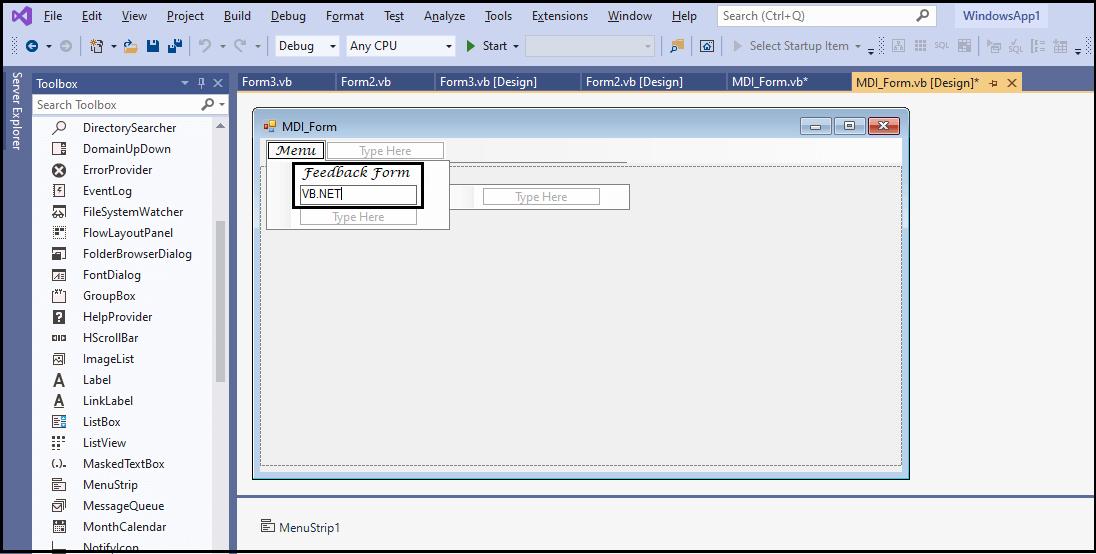 VB.NET MDI Form