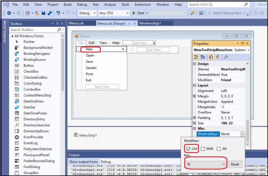 VB.NET Menu Control