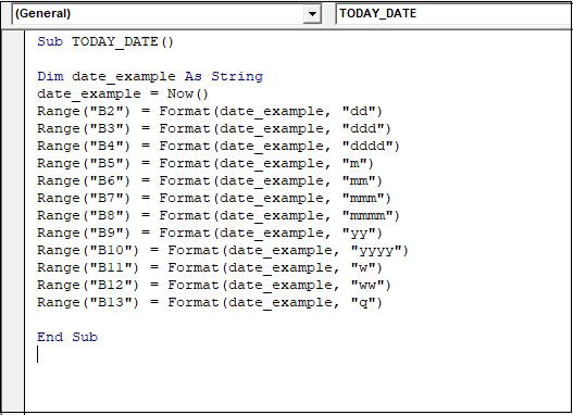 VBA Date Format