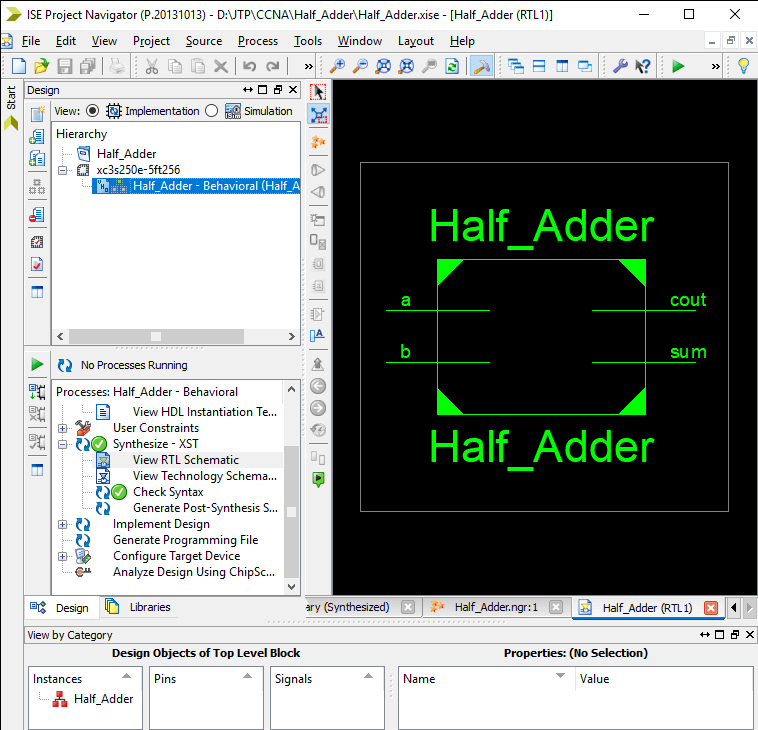 Creating a project in VHDL using Xilinx IDE Tool
