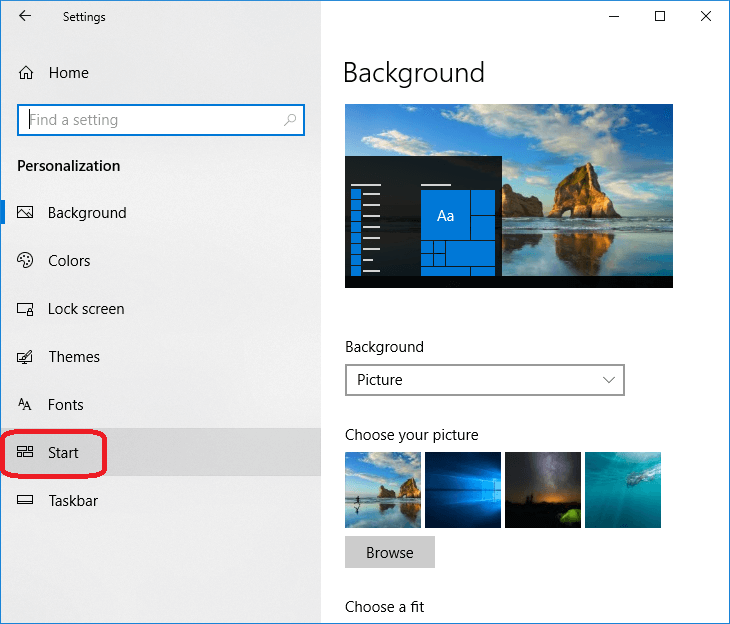 How to enable the Start screen in Windows 10