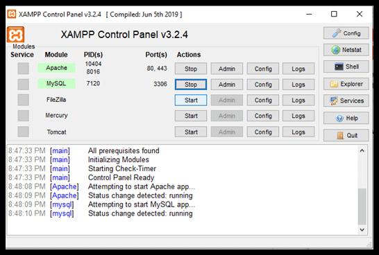 Creating MySQL Database with XAMPP