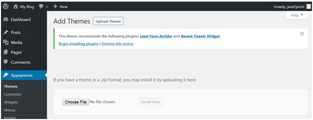 Wordpress How to install wordpress themes11