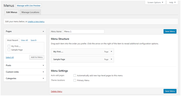 Wordpress New link in wordpress navigation menus1